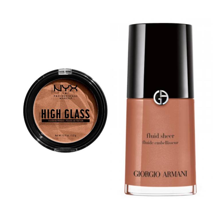 nyx professional makeup high glass highlighter, giorgio armani fluid sheer