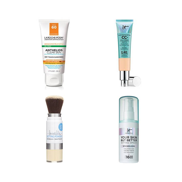 la roche posay sunscreen, it cosmetics cc cream, supergoop mineral sunscreen powder, it cosmetics your skin but better setting spray