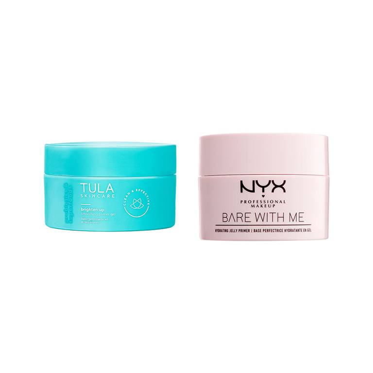 tula brighten up primer, nyx professional makeup bare with me jelly primer